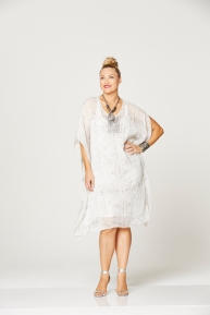 MySize Moonshie snake kaftan & flower beaded n'lace