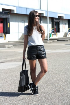 Outfit-black-leather-shorts-streetstyle-sports-luxe-trend